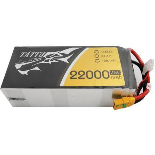 TATTU 22.2V 25C 6S 22000MAH LIPO BATTERY WITH XT90 PLUG FOR UAV