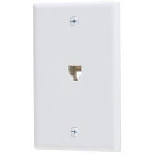 PHONE JACK W/PLATE - WHITE-VISTA-VISTA-Default-Covalin Electrical Supply