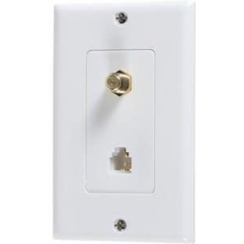 DECORATOR PHONE JACK W/PLATE - WHITE-VISTA-VISTA-Default-Covalin Electrical Supply