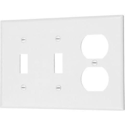 COMBO 2 TOGGLE SWITCH & 1 DUPLEX OUTLET - WHITE-VISTA-VISTA-Default-Covalin Electrical Supply