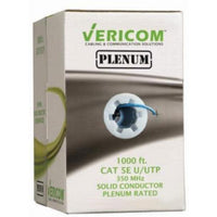 1000FT BLUE PLENUM SOLID UTP CAT5E (350MHZ) NETWORK CABLE - FT6/CMP - VERICOM-TECHCRAFT-COMPUTER PLUG-Default-Covalin Electrical Supply