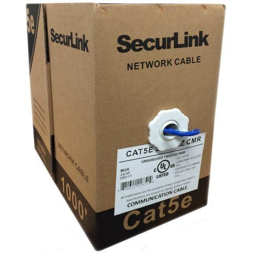 1000FT BLUE SOLID UTP CAT5E (350MHZ) NETWORK CABLE - FT4/CMR - SECURELINK-TECHCRAFT-COMPUTER PLUG-Default-Covalin Electrical Supply