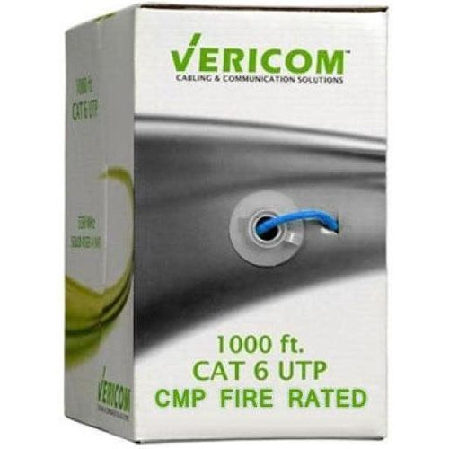 1000FT BLUE PLENUM SOLID UTP CAT6 (400MHZ) NETWORK CABLE - FT6/CMP- VERICOM-TECHCRAFT-COMPUTER PLUG-Default-Covalin Electrical Supply