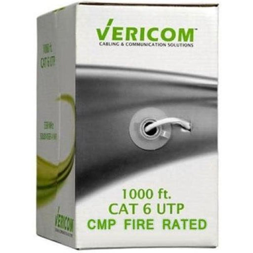 1000FT WHITE PLENUM SOLID UTP CAT6 (400MHZ) NETWORK CABLE - FT6/CMP- VERICOM-TECHCRAFT-COMPUTER PLUG-Default-Covalin Electrical Supply