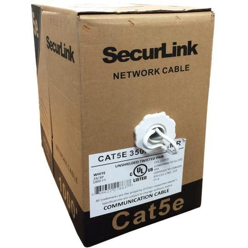 1000FT WHITE SOLID UTP CAT5E (350MHZ) NETWORK CABLE - FT4/CMR - SECURELINK-TECHCRAFT-COMPUTER PLUG-Default-Covalin Electrical Supply