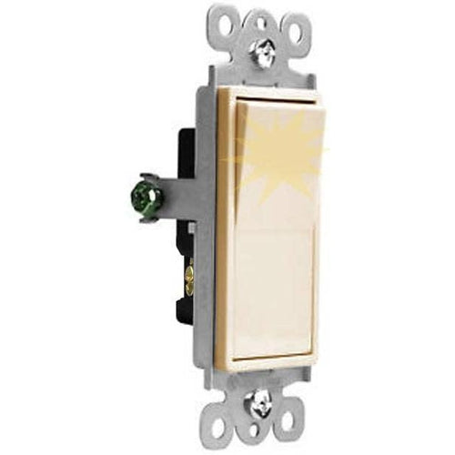 15A LIGHTED DECORA SWITCH - 3 WAY - IVORY-VISTA-VISTA-Default-Covalin Electrical Supply