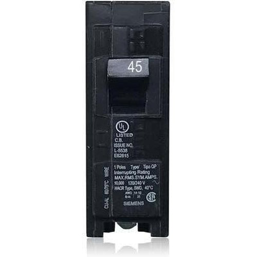 SIEMENS 1 POLE 45A PUSH-IN CIRCUIT BREAKER Q145-SIEMENS-DEALER SOURCE-Default-Covalin Electrical Supply