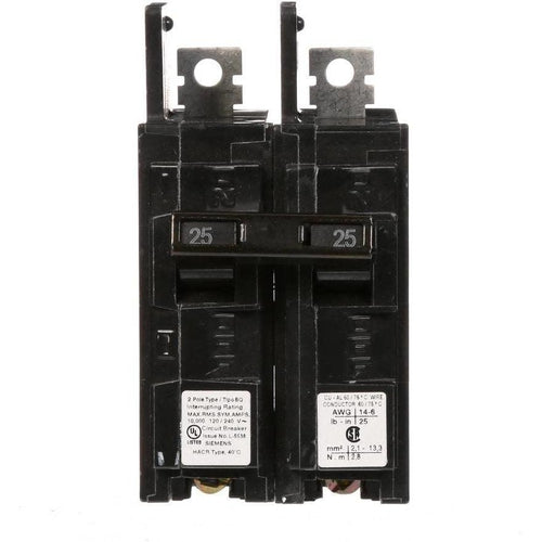 SIEMENS 2 POLE 25A BQ-TYPE BOLT-ON BREAKER BQ2B025-SIEMENS-DEALER SOURCE-Default-Covalin Electrical Supply