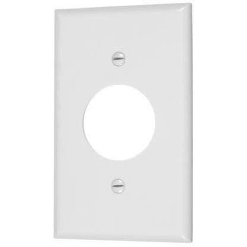 SINGLE OUTLET PLATE 1 11/32'' DIAMETER HOLE - WHITE-VISTA-VISTA-Default-Covalin Electrical Supply