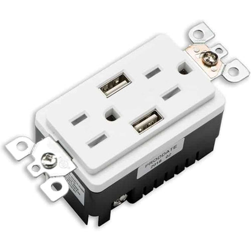 VOTATEC 15A TAMPER RESISTANT - USB DECORATOR DUPLEX OUTLET - WHITE-VOTATEX-VOTATEX-Default-Covalin Electrical Supply