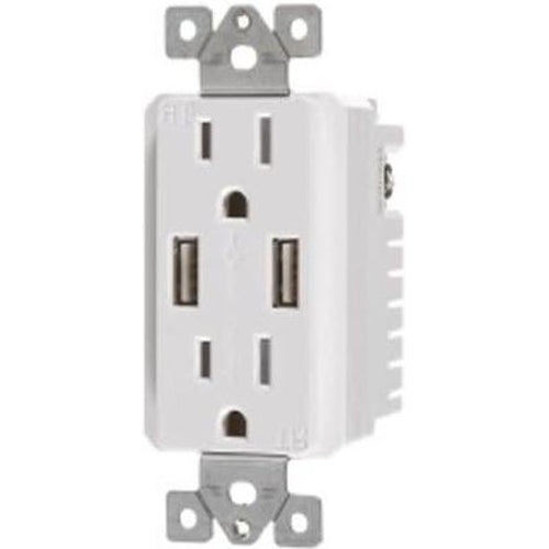 VISTA 15A TAMPER RESISTANT - USB DECORATOR DUPLEX OUTLET - WHITE-VISTA-VISTA-Default-Covalin Electrical Supply