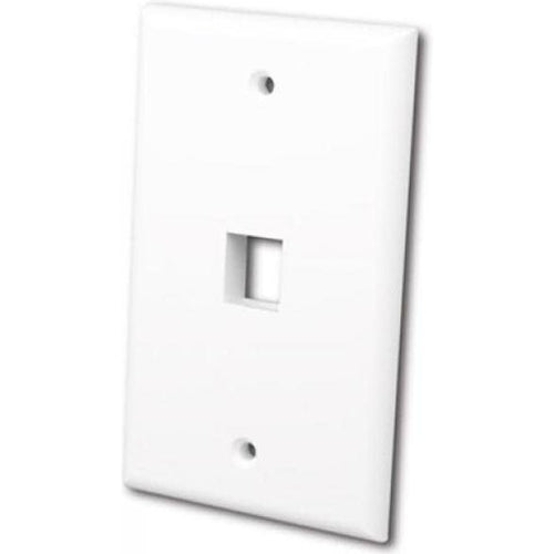 FLUSH WALLPLATE FOR SINGLE KEYSTONE JACK - BRIGHT WHITE-TECHCRAFT-COMPUTER PLUG-Default-Covalin Electrical Supply