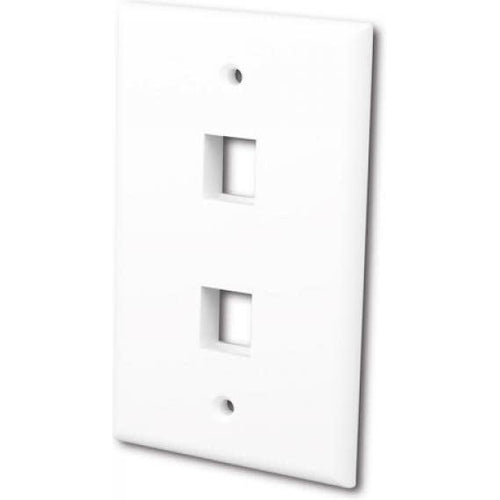 FLUSH WALLPLATE FOR 2 KEYSTONE JACKS - BRIGHT WHITE-TECHCRAFT-COMPUTER PLUG-Default-Covalin Electrical Supply