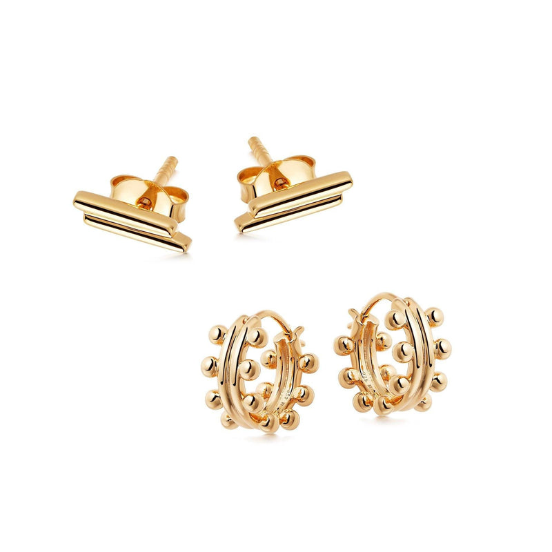 GOLD BEADS AND BARS EARRING SET Layering Sets Missoma