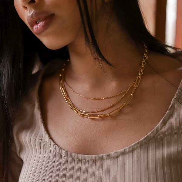 Gold Deconstructed Axiom & Box Link Chain Necklace Set Layering Sets Missoma