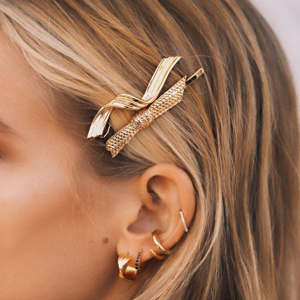Gold Twisted Ribbon Hair Clip Accessories Missoma