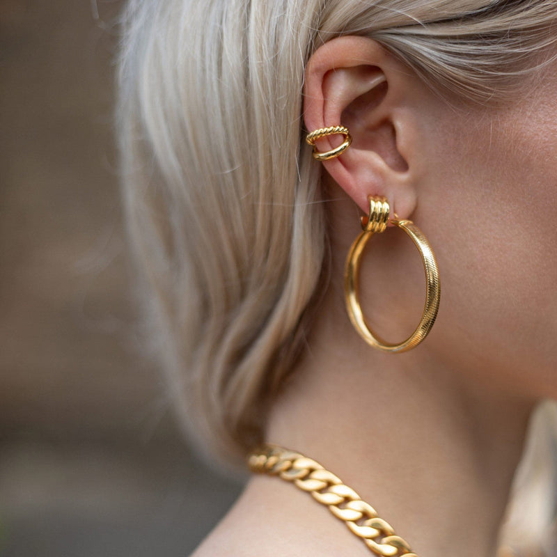 Lucy Williams Gold Large Snake Chain Hoops Earrings Missoma