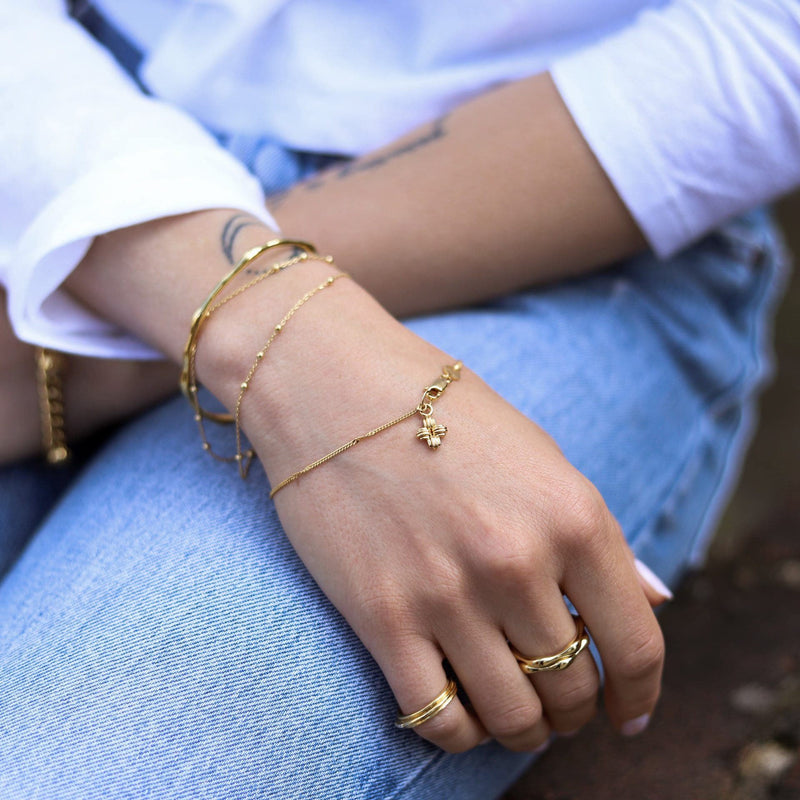 Lucy Williams Gold Mini Ridge Cross Bracelet Bracelets Missoma