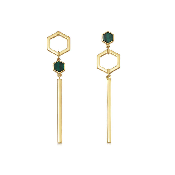 Malachite Gold Rhea Drop Studs Earrings Missoma