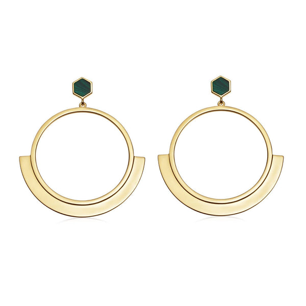 Malachite Gold Rhea Front Facing Hoops Earrings Missoma