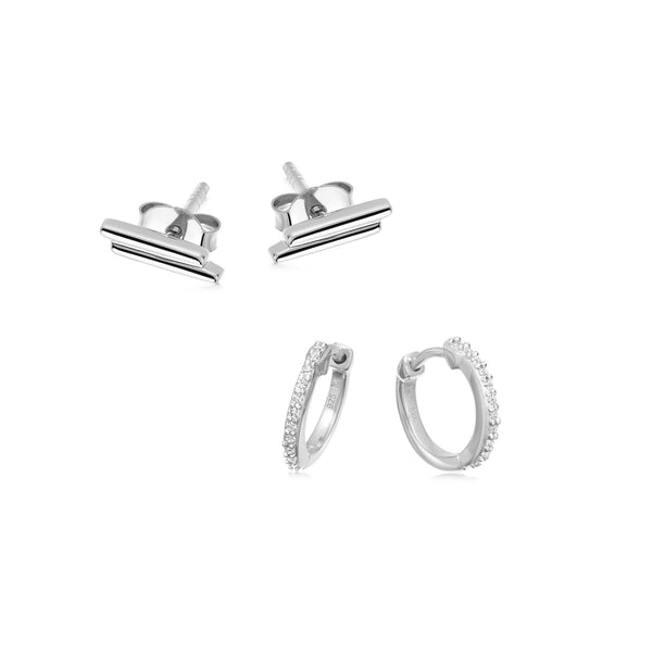 SILVER STUDS & HUGGIES EARRING SET Layering Sets Missoma