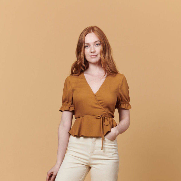 Laura Wrap Top (Brown) Top Whimsy + Row XS