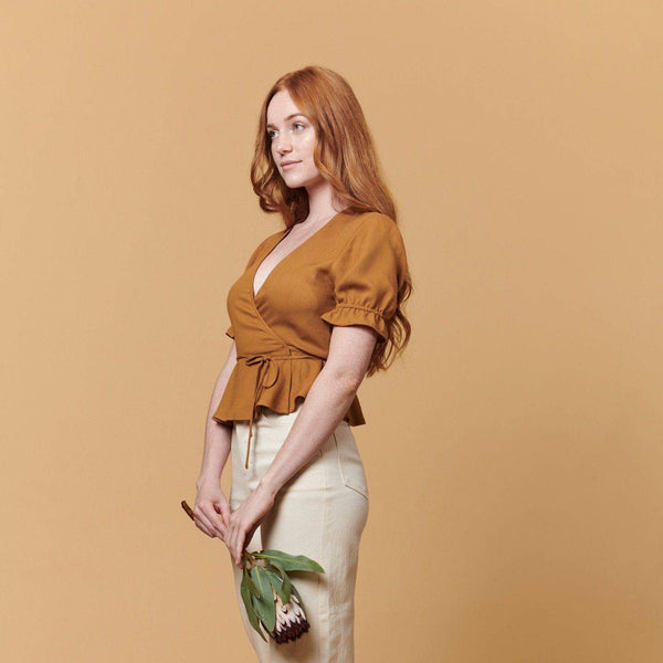 Laura Wrap Top (Brown) Top Whimsy + Row