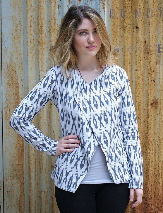 White Ikat Jacket - Consciously