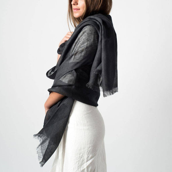 Linen Scarf (Charcoal) Scarf Variously