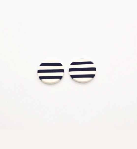 Striped Round Studs - Consciously
