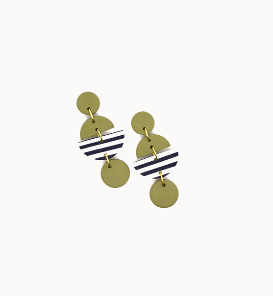 Navy and White Striped Green Earrings - Consciously