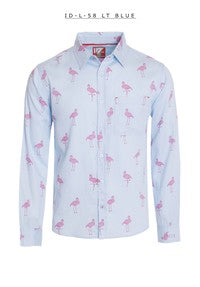 ew Mens ID Long Sleeve Button Down Dress Shirt Light Blue With Pink Flamingo Polka Dot Pattern Front Pocket