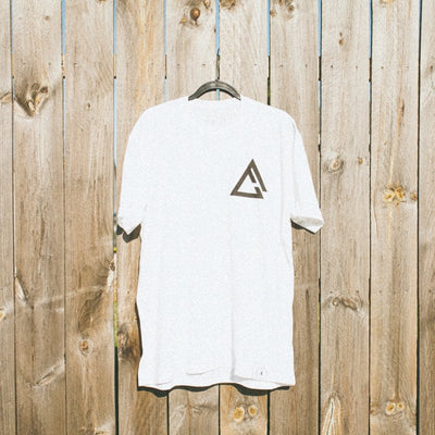 fueled by choice. white chest logo t shirt
