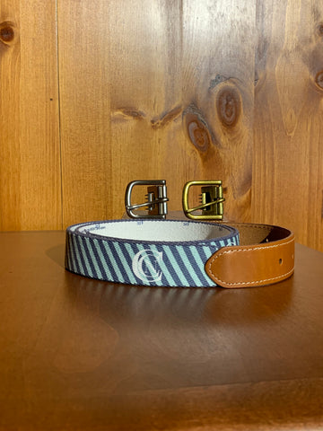 Doc Murphy Custom Cut Belt- Aqua/Navy Stripe
