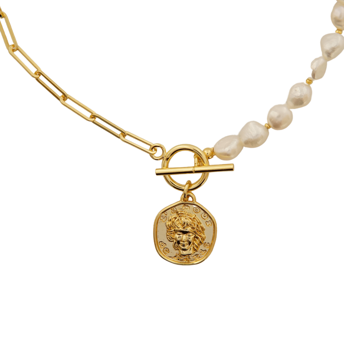 Medusa Pearl Coin Necklace