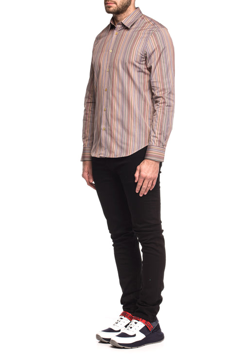 Camasa slim fit cu dungi multicolore Slim Paul Smith