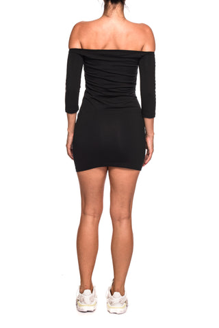 Rochie neagra scurta Off-The-Shoulder Adidas Originals