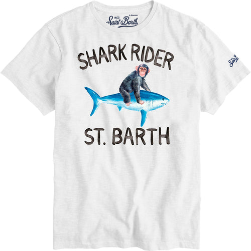 Tricou alb MC2 Saint Barth Shark Rider