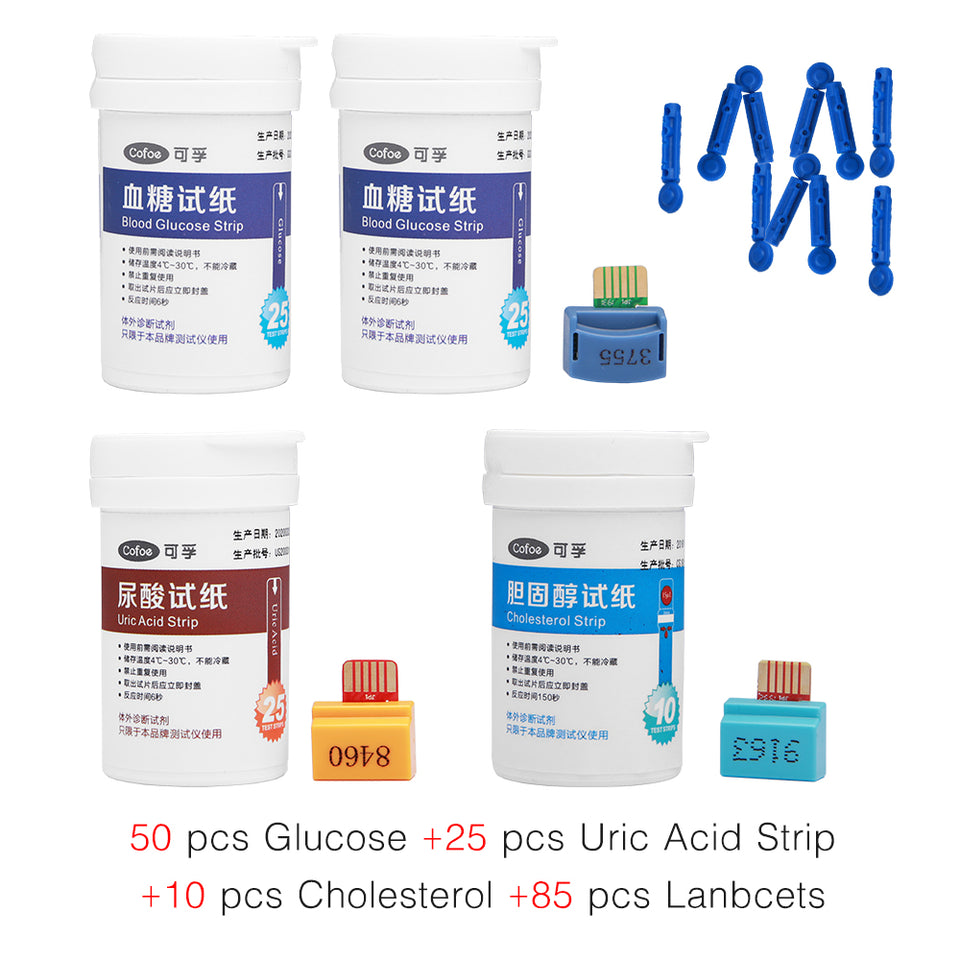 Cholesterol & Uric Acid & Blood Glucose Test Strips Free Lancets for 3 in 1 Multifunctional Monitor RF-XT-01