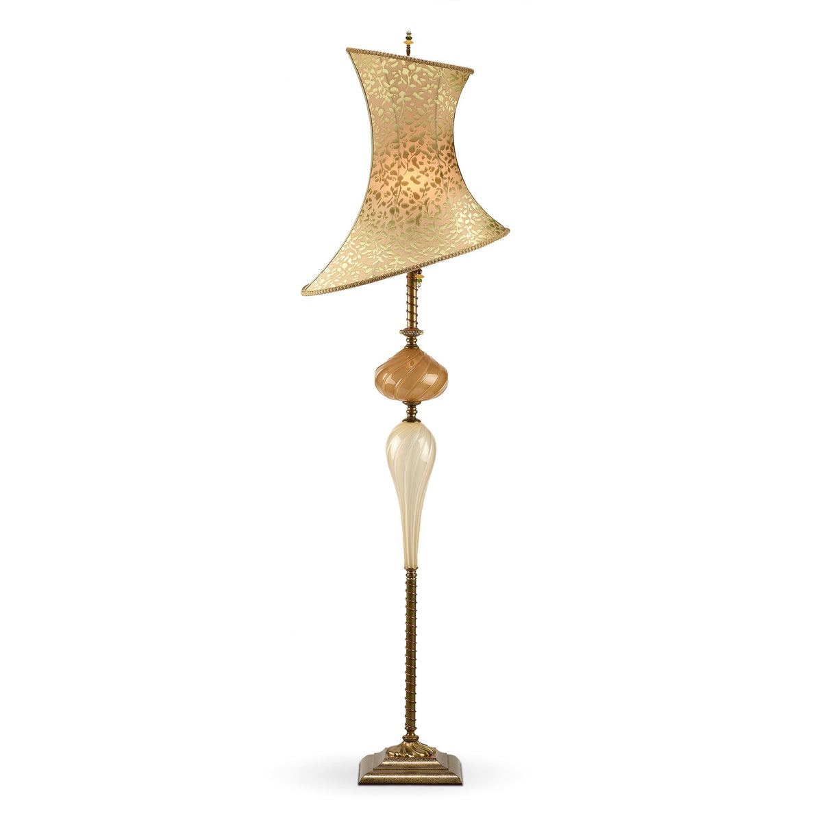 Kinzig Lamps, Hand Blown Glass Lamps With Embroidered Silk