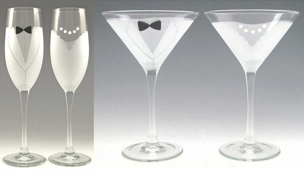 Bride and Groom Champagne and Martini Glasses by artist, designer Kathryn Gooding, Asta Glass