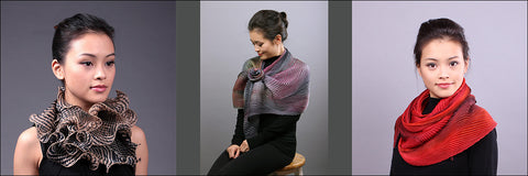 Cathayana Scarves and Shawls Silk Pleated Shibori Scarf Promotional Image