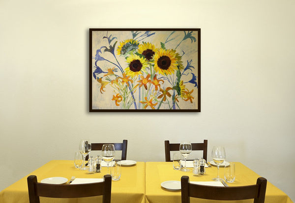 Flower-Paintings-Floral-Paintings-Lila-Bacon-Artist-Painter-Lilies-and-Sunflowers-Shadows-Interior