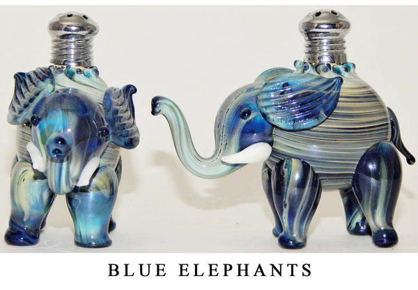 Blue Elephant Blown Glass Salt and Pepper Shaker 264 by Four Sisters Art Glass
