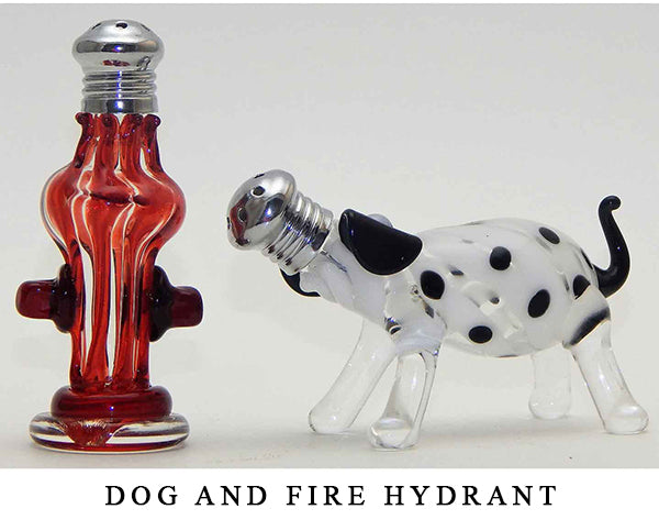 Dog and Fire Hydrant Blown Glass Salt and Pepper Shaker 255 by Four Sisters Art Glass