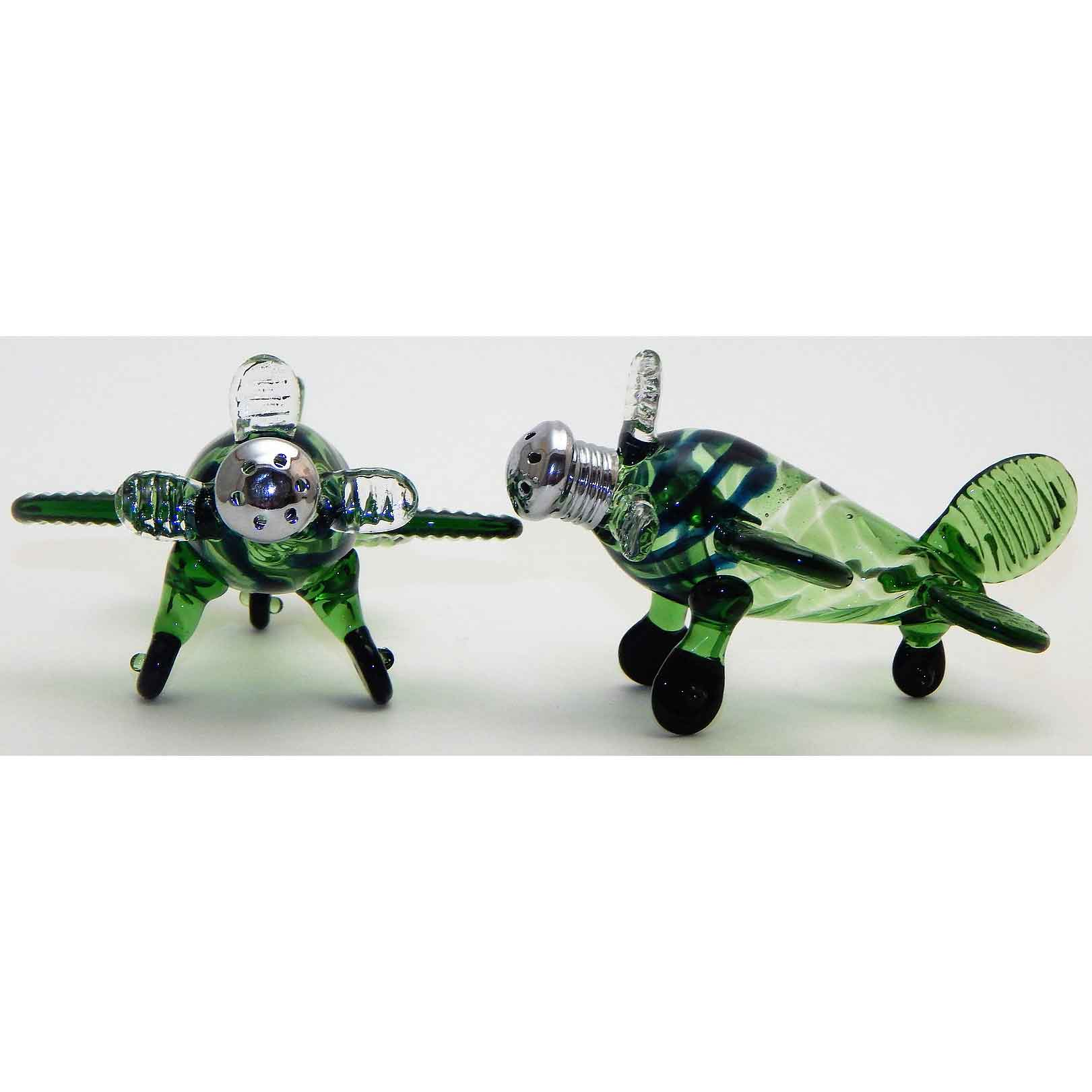 Green Airplane Blown Glass Salt and Pepper Shaker 206 by Four Sisters Art Glass