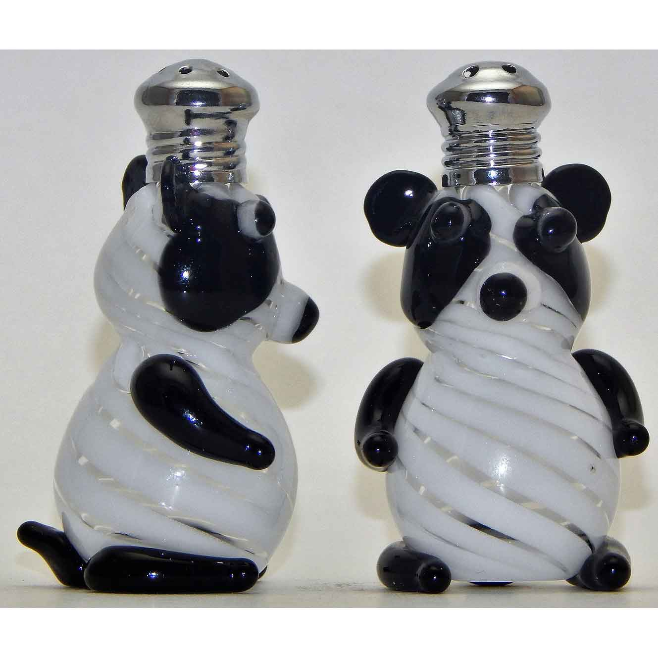 Pandas Blown Glass Salt and Pepper Shaker 259 by Four Sisters Art Glass