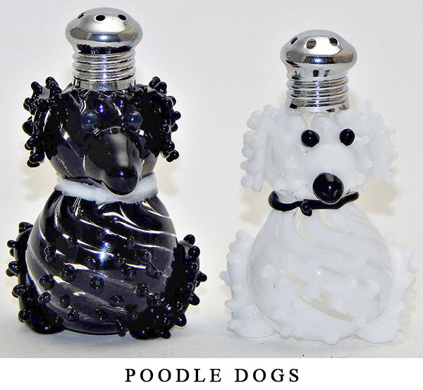 Poodle Dog Blown Glass Salt and Pepper Shaker 250 by Four Sisters Art Glass