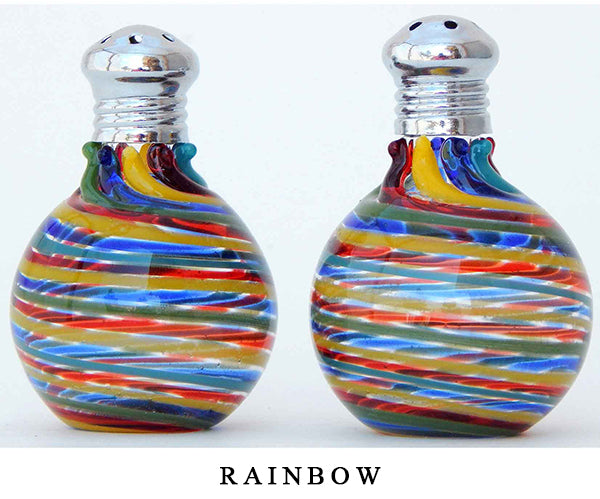 Rainbow Blown Glass Salt and Pepper Shaker 314 by Four Sisters Art Glass