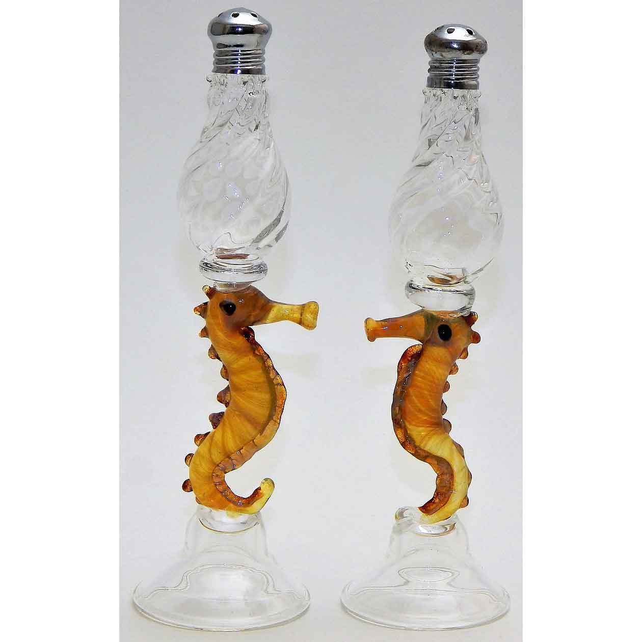 Sea Horses Blown Glass Salt and Pepper Shaker 104 by Four Sisters Art Glass